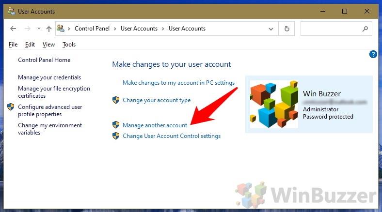 Windows 10 - Control Panel - User Accounts