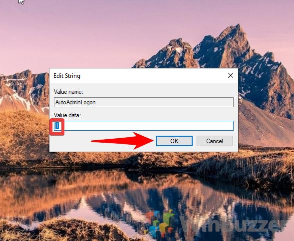 Windows 10 - Regedit - Winlogon - Autoadminlogon - Edit String