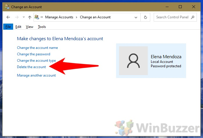 Windows 10 - Control Panel - Manage Accounts - Change an Account