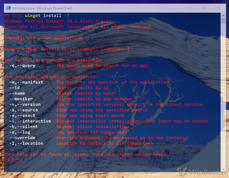 Windows 10 - PowerShell - Winget install -