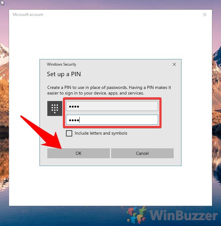 Windows 10 - Settings - Set up a PIN