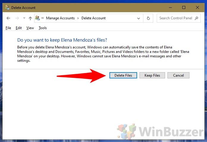 Windows 10 - Control Panel - Manage Accounts - Delete Account (1)