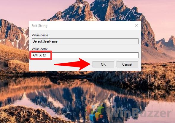 Windows 10 - Regedit - Winlogon - DefaultUserName - Edit String