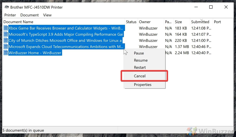Windows 10 - Printer Spooler - cancel multiple print jobs
