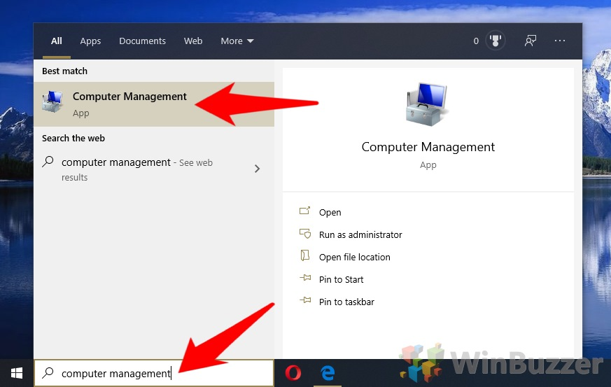 Windows 10 - Search - Computer Management