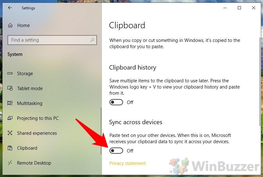 Windows 10 - Settings - System - Clipboard