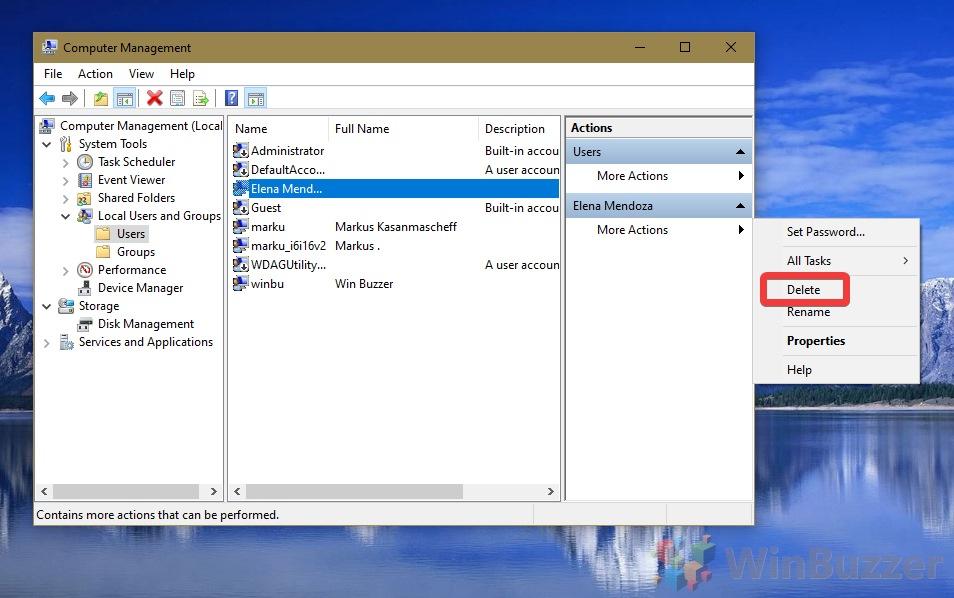 Windows 10 - Search - Computer Management - User - Delete