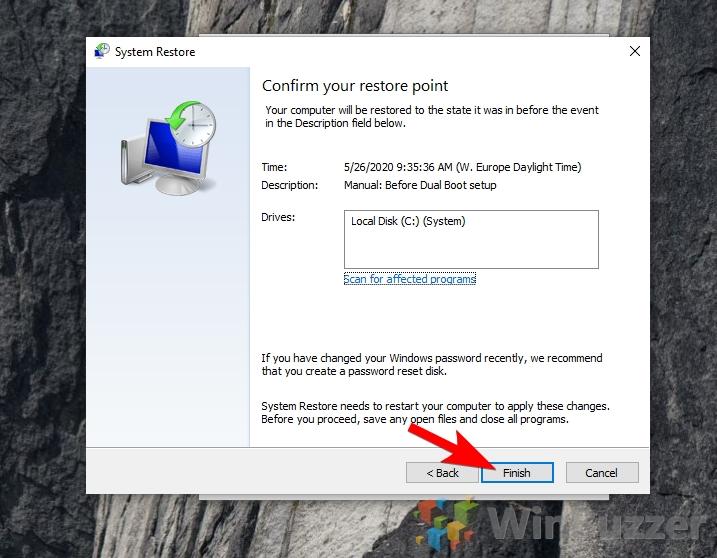 Windows 10 - System Restore - Confrim your restore point