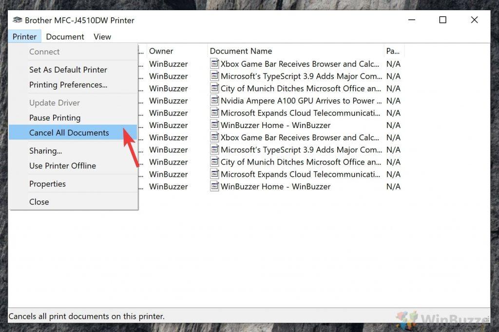 Windows 10 - Printer Spooler - Cancel All Documents