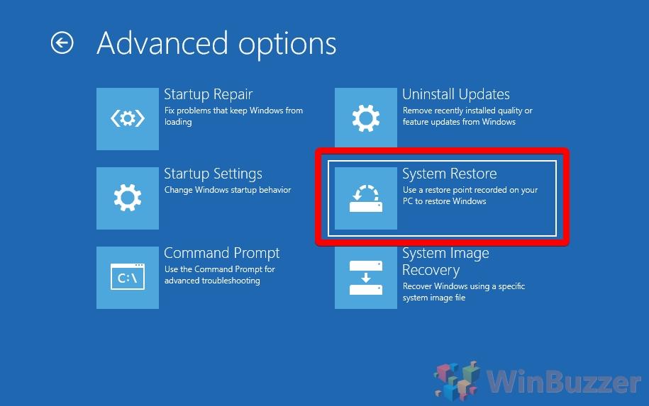 Windows 10 - Advanced Startup - Troubleshoot - Advanced Options (1)