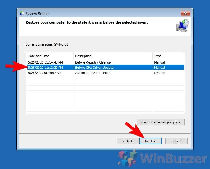 Windows 10 - Advanced Startup - System restore - Start restore