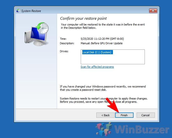 Windows 10 - Advanced Startup - System restore - Confirm restore point