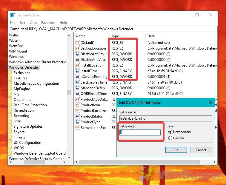 Windows 10 - Registry Editor - Create Types