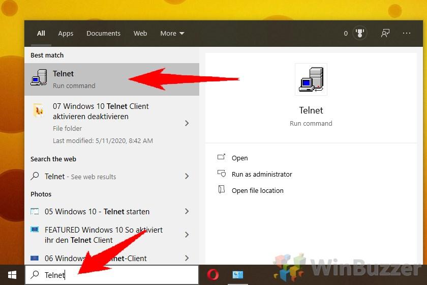 Windows 10 - Search - Telnet