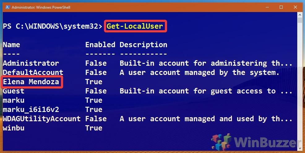 Windows 10 - PowerShell (Admin) - Get-LocalUser