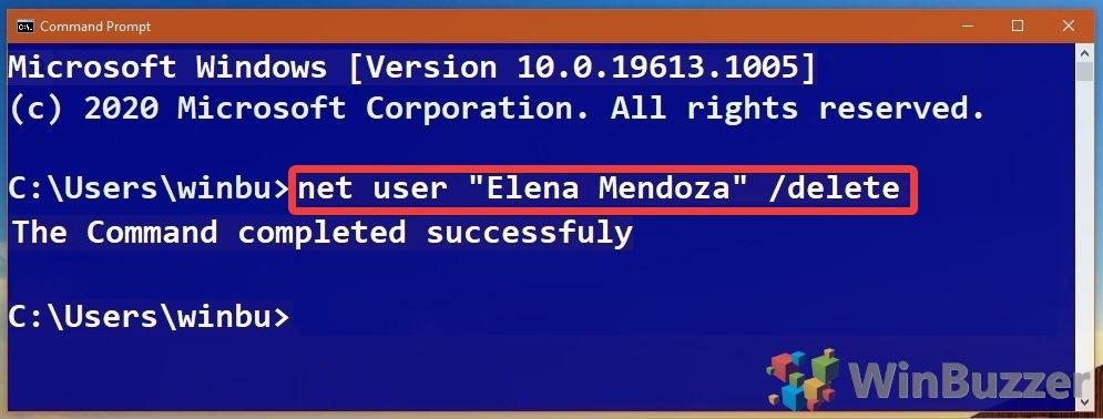 Windows 10 - Command Prompt - Net User Delete