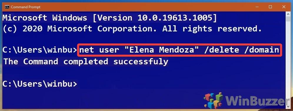 Windows 10 - Command Prompt - Net User Delete Domain