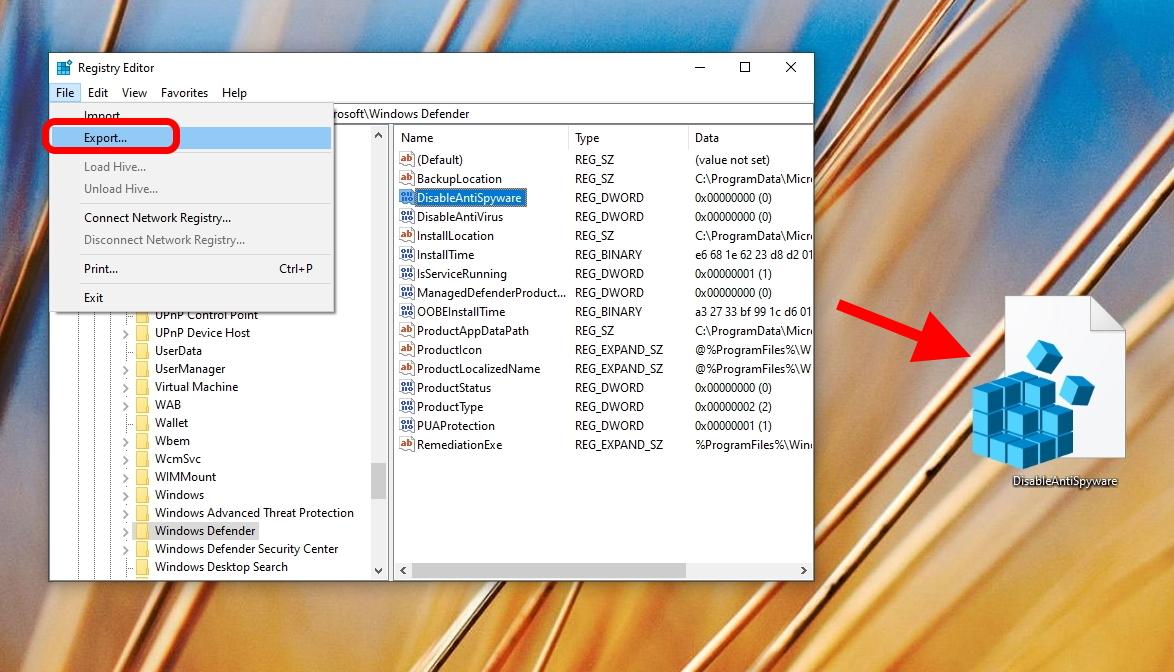 Windows 10 - Registry Editor - Export Data Types