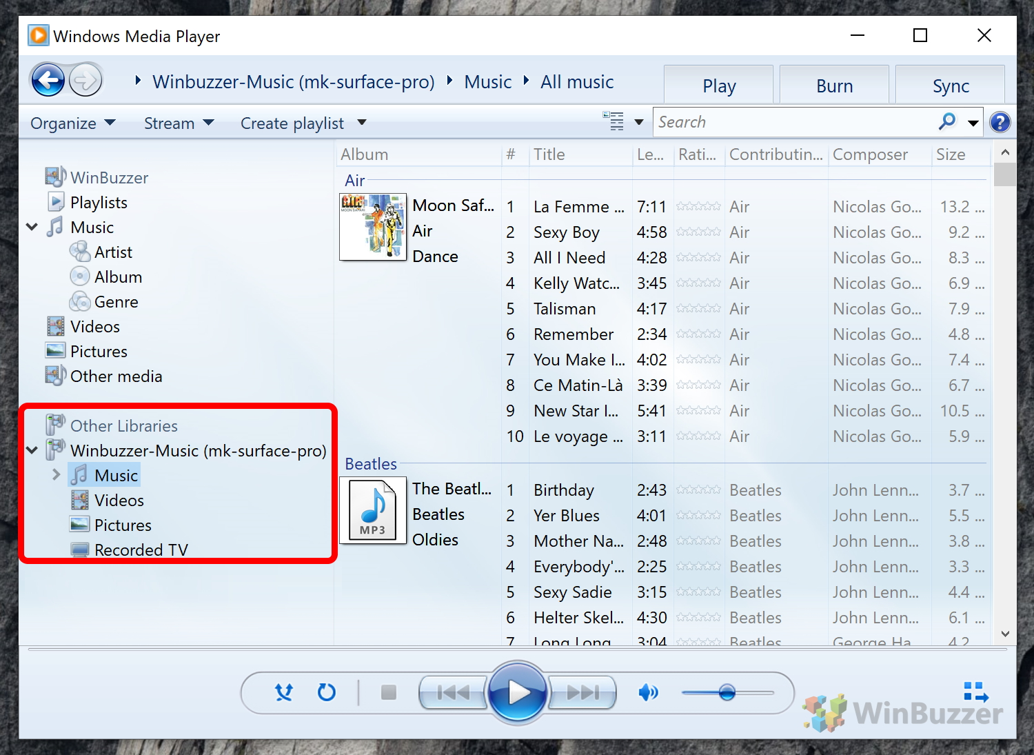 Windows 10 - Windows Media Player - Media Streaming Server - Music Tracks