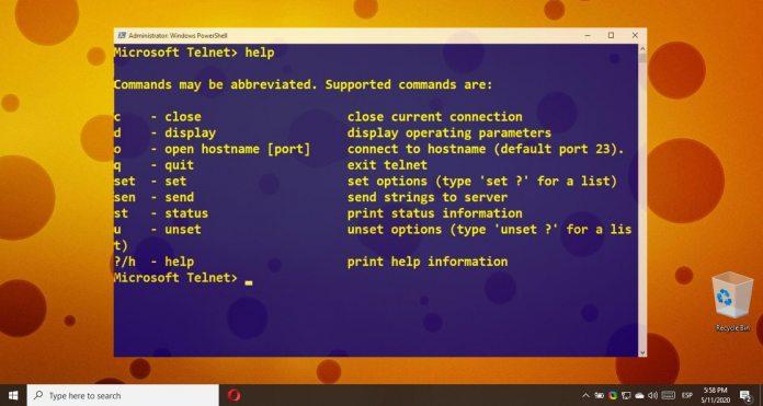Windows 10 How to activate the Telnet Client