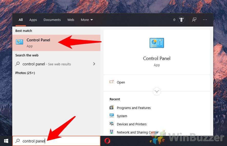 Windows 10 - Open Control Panel