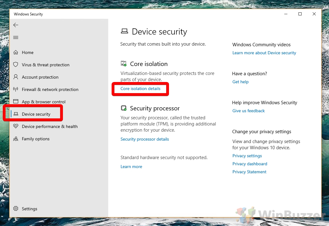 Windows 10 - Windows-Security - Device Security - Core isolation details