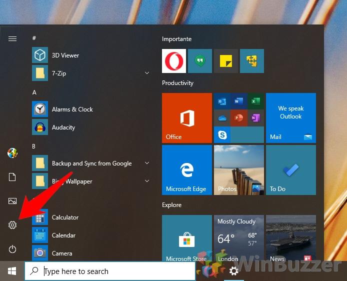 Windows10 - Open Settings
