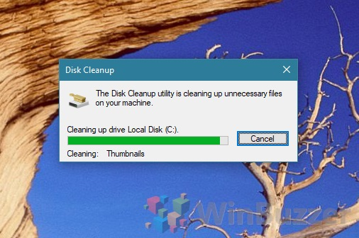 Windows 10 - Disk Cleanup - cleaning