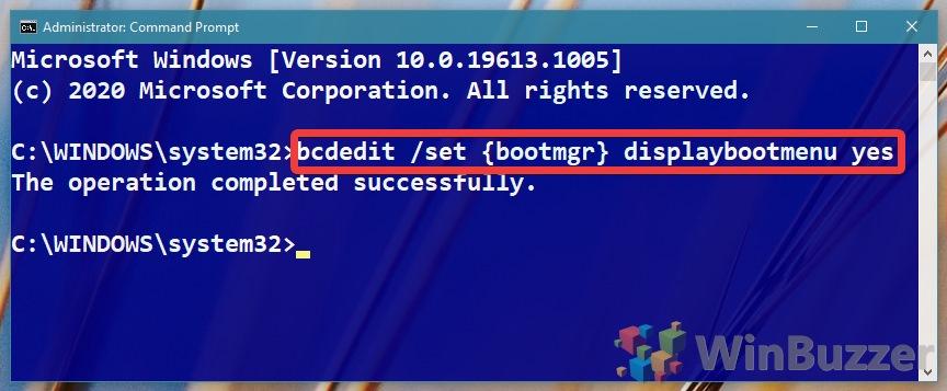 Windows 10 - Command Prompt - bcdedit displaybootmenu yes