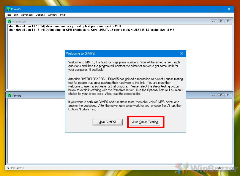Windows 10 - Prime95 - Start Stress Test