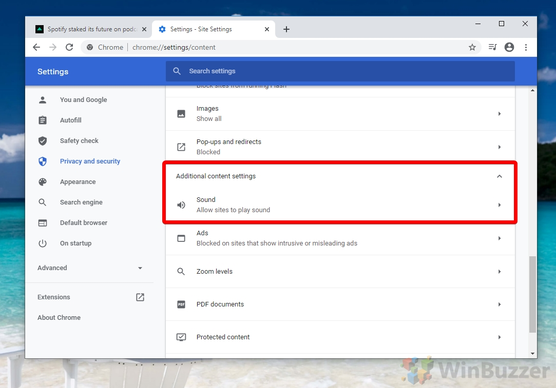 Google Chrome -Site Settings - Additional Content Settings