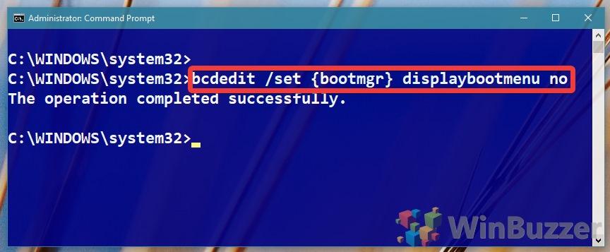 Windows 10 - Command Prompt - bcdedit displaybootmenu no