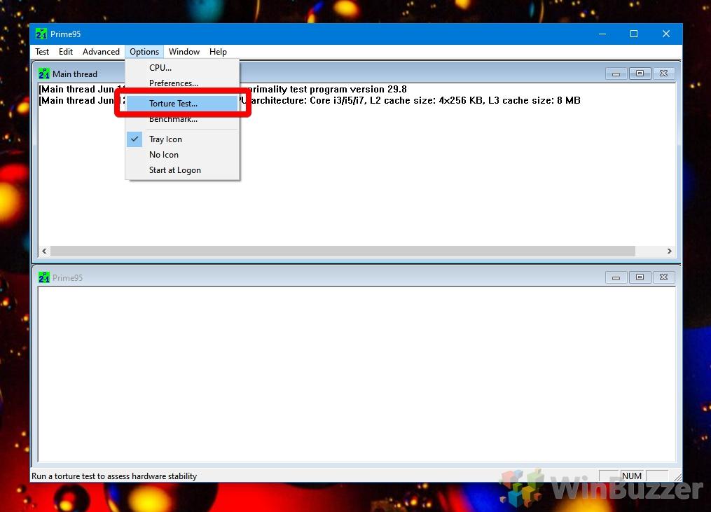Windows 10 - Prime95 - Start Torture Test