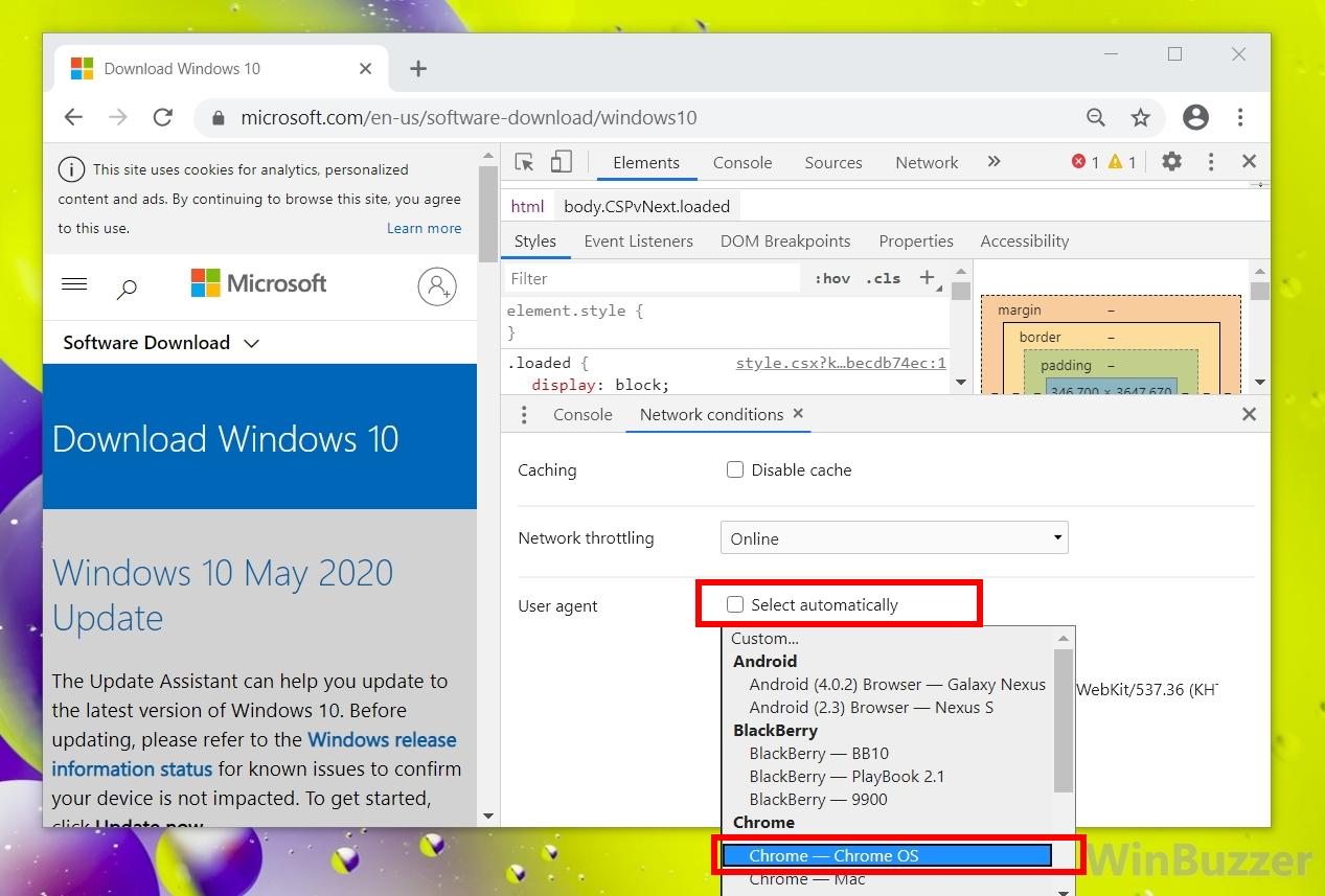 Windows 10 - Chrome - Developer tools - Select User agent