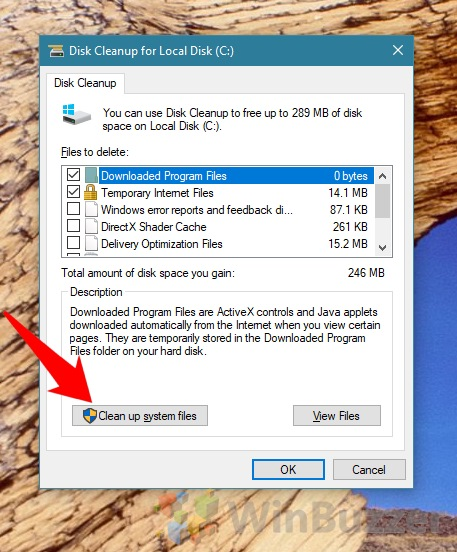 Windows 10 - Disk Cleanup system files