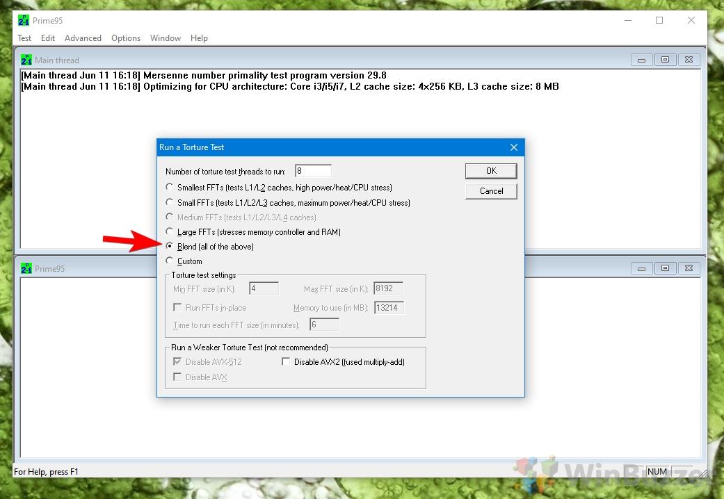 Windows 10 - Prime95 - Start Torture Test (1)