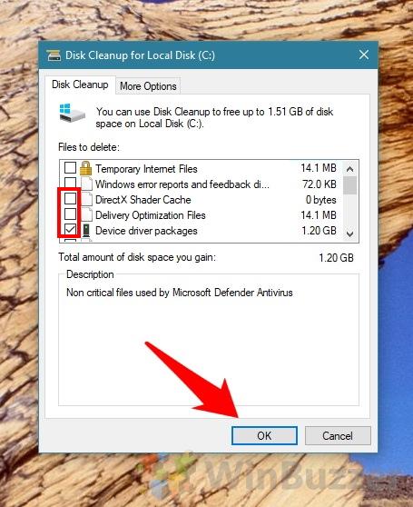 Windows 10 - Disk Cleanup - includingsystem files