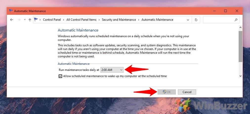 Windows 10 - Security and Maintenance - Change Maintenance Settings - Automatic Maintenance