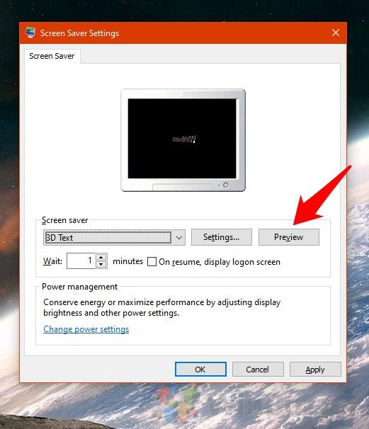 Windows 10 - Screen Saver Settings -Preview