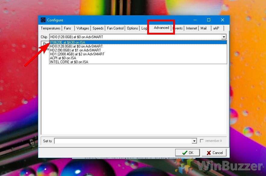 SpeedFan - Settings - Advanced - Select Fan Controller