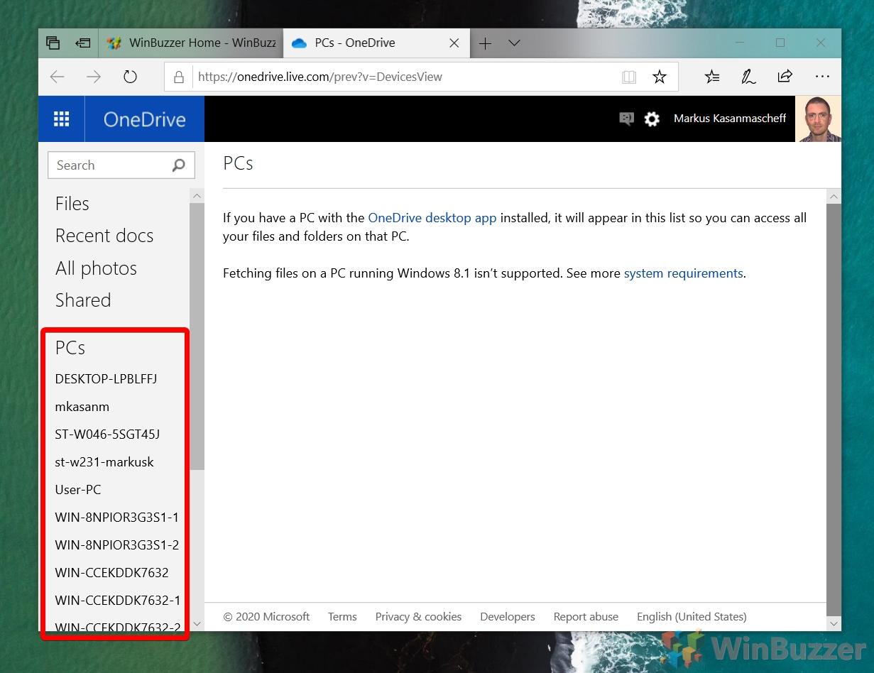 OneDrive Web-App - PCs