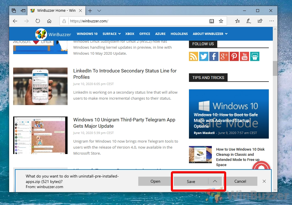 Windows 10 - Edge - Save Download uninstall-pre-install-apps