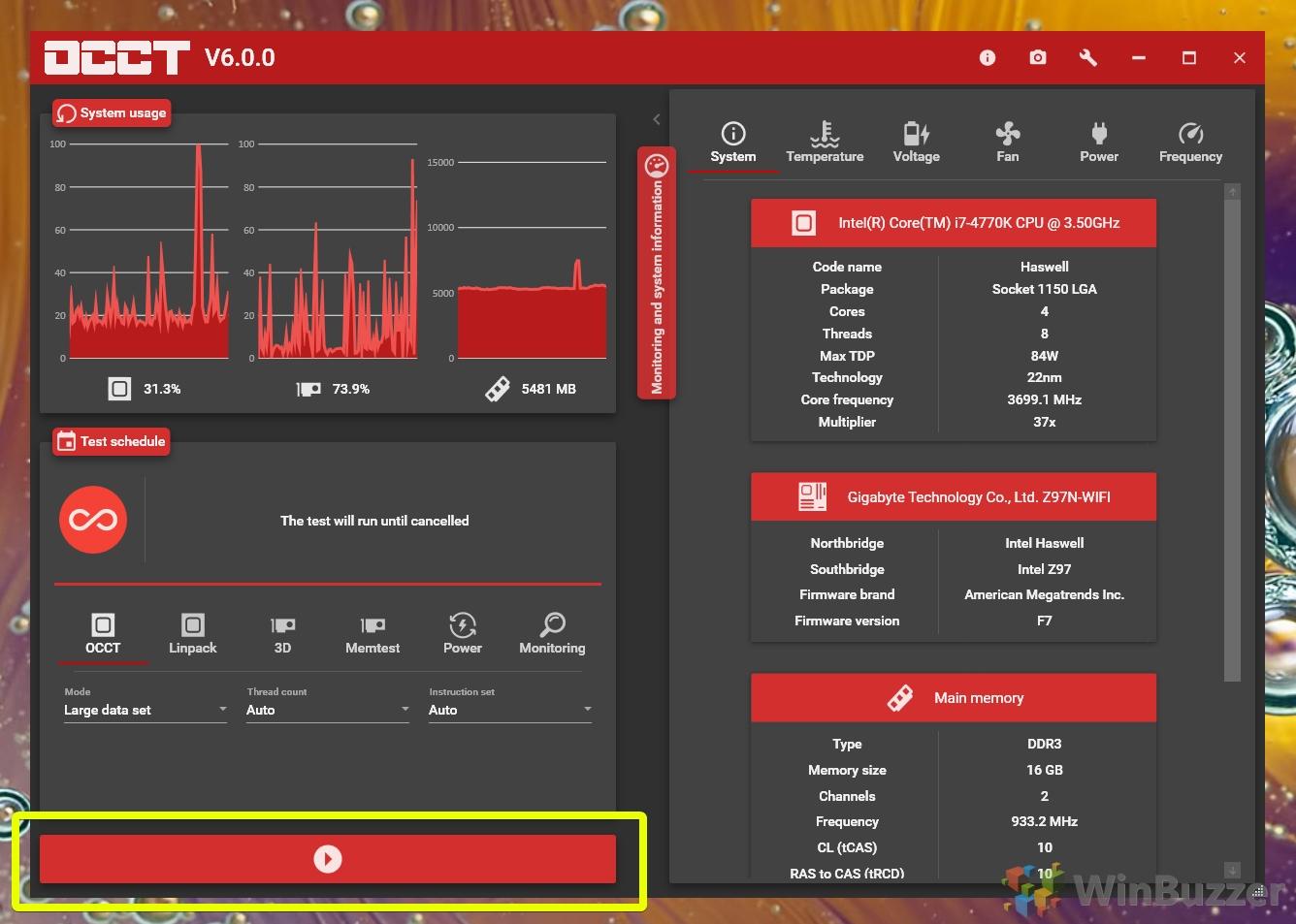 Windows 10 - OCCT - Start CPU stress test