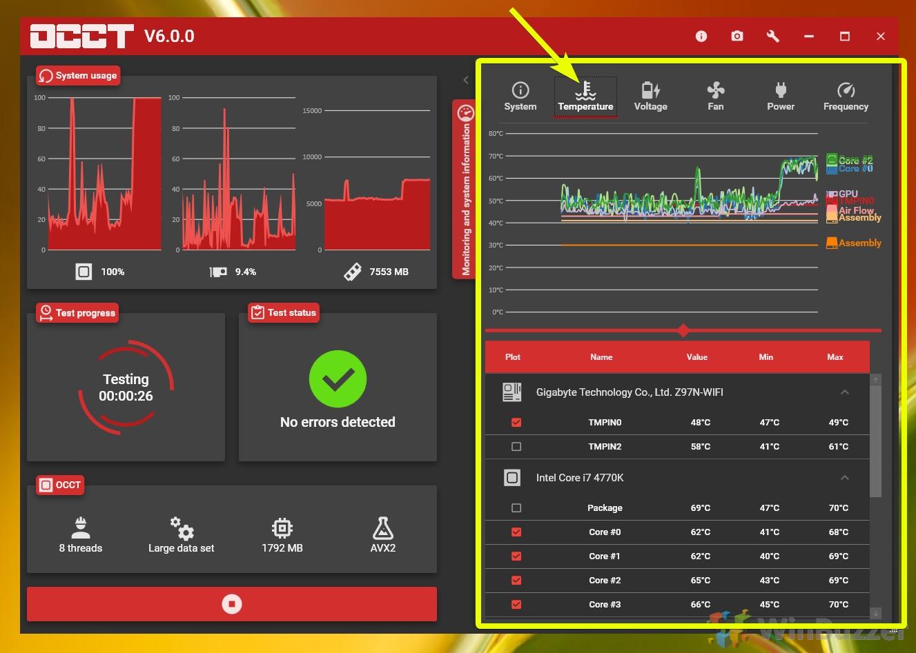 Windows 10 - OCCT - CPU stress test - temperature