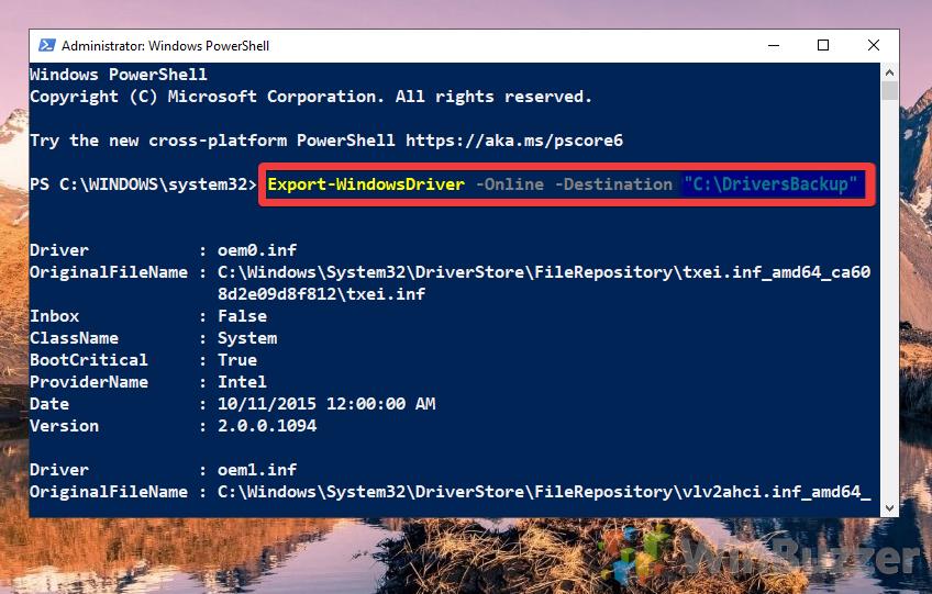 Windows 10 - PowerShell - Export-WindowsDriver