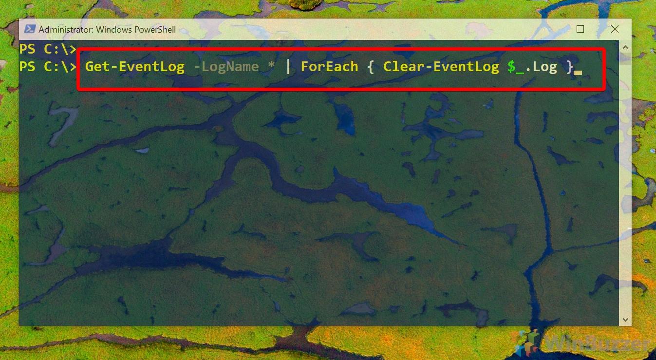 Windows 10 - PowerShell (admin) - clear all Eventviewer logs