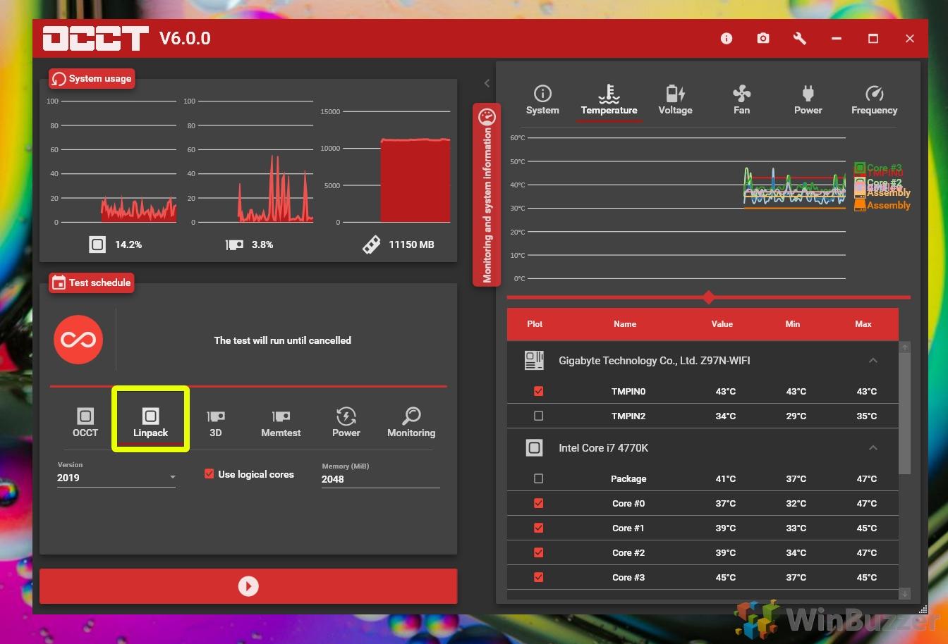 Windows 10 - OCCT - Intel Linpack CPU stress test