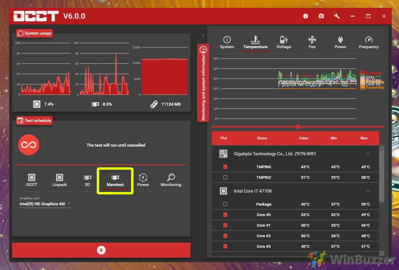 Windows 10 - OCCT - RAM stress test