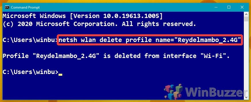 Windows 10 - Command Promt - netsh wlan delete profile