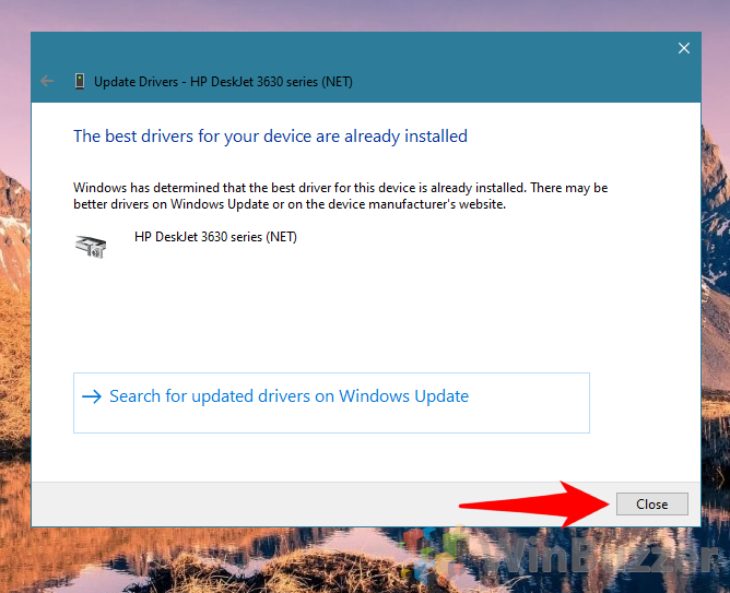 Windows 10 - Device Manager - Update Driver - Install Drivers and Close
